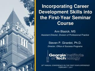 Incorporating Career Development Skills into the First-Year Seminar Course