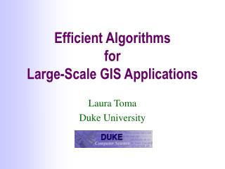 Efficient Algorithms  for  Large-Scale GIS Applications