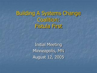 Building A Systems Change Coalition: Fistula First