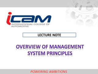 Overview of management system principles