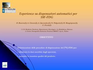 Esperienze su dispensatori automatici per 18F-FDG