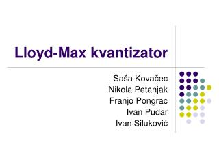 Lloyd-Max kvantizator