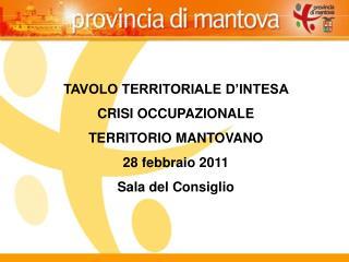 TAVOLO TERRITORIALE D'INTESA  CRISI OCCUPAZIONALE  TERRITORIO MANTOVANO 28 febbraio 2011