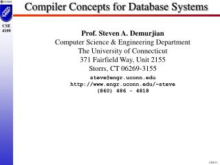 Compiler Concepts for Database Systems