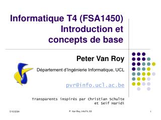 Informatique T4 (FSA1450) Introduction et concepts de base