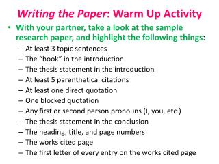 Writing the Paper : Warm Up Activity