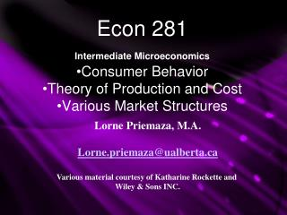 Econ 281 Intermediate Microeconomics