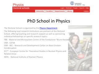 PhD School in Physics