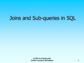 Joins and Sub-queries in SQL