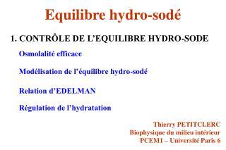 Equilibre hydro-sodé