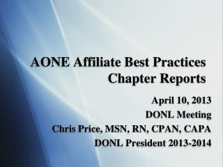AONE Affiliate Best Practices Chapter Reports