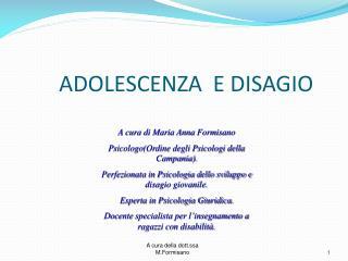 ADOLESCENZA  E DISAGIO