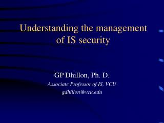 Understanding the management of IS security