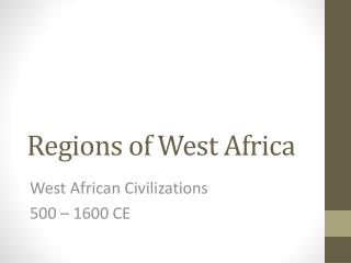 Regions of West Africa