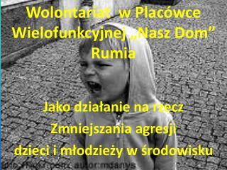 """Wolontariat  w Placówce Wielofunkcyjnej """"Nasz Dom"""" Rumia"""