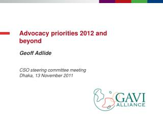 Advocacy priorities 2012 and beyond
