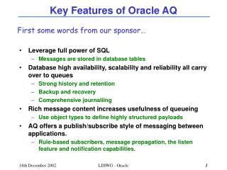 Key Features of Oracle AQ