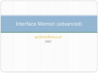Interface  Memori  (advanced)