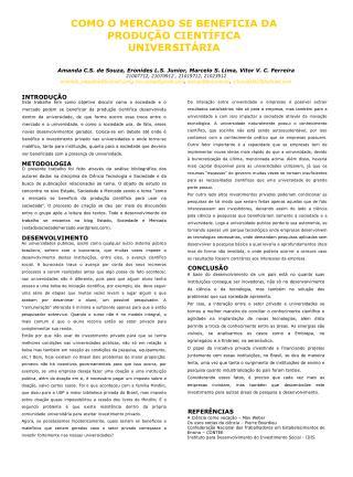COMO O MERCADO SE BENEFICIA DA PRODUÇÃO CIENTÍFICA UNIVERSITÁRIA
