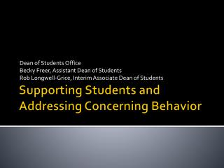 Supporting Students and Addressing Concerning Behavior