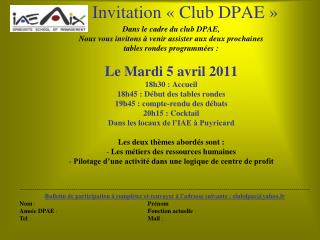 Invitation « Club DPAE »
