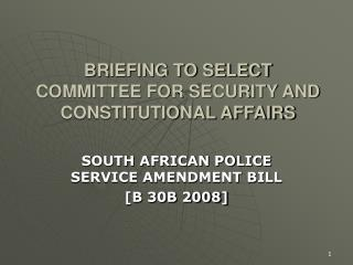 BRIEFING TO SELECT COMMITTEE FOR SECURITY AND CONSTITUTIONAL AFFAIRS