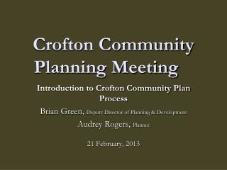 Crofton Community Planning Meeting