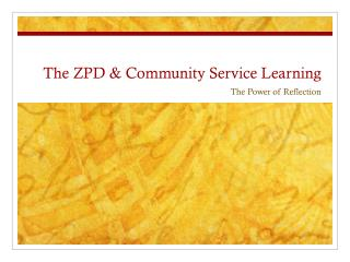 The ZPD & Community Service Learning