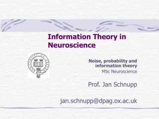 Information Theory in Neuroscience