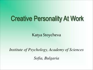 Creative Personality At Work