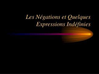 Les N�gations et Quelques Expressions Ind�finies