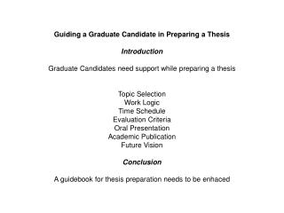 Guiding a Graduate Candidate in Preparing a Thesis Introduction