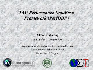 TAU Performance DataBase Framework (PerfDBF)