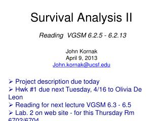 Survival Analysis II