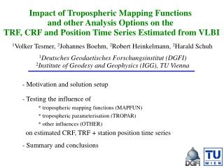 Impact of Tropospheric Mapping Functions  and other Analysis Options on the