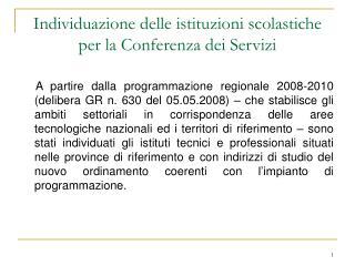Individuazione delle istituzioni scolastiche per la Conferenza dei Servizi
