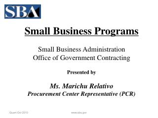 Small Business Programs Small Business Administration Office of Government Contracting