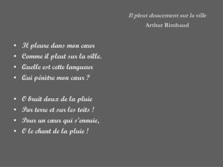 Il pleut doucement sur la ville Arthur Rimbaud
