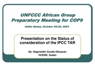 UNFCCC African Group Preparatory Meeting for COP9  Addis Ababa, October 20-24, 2003