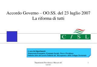 Accordo Governo – OO.SS. del 23 luglio 2007 La riforma di tutti