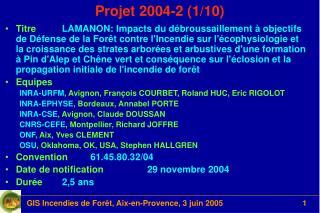 Projet 2004-2 (1/10)