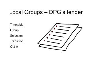 Local Groups – DPG's tender