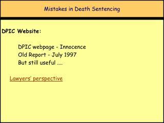 Mistakes in Death Sentencing