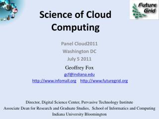 Science of Cloud Computing