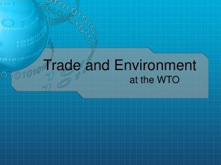 Trade and Environment at the WTO