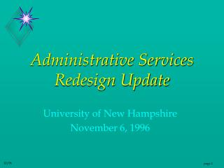 Administrative Services Redesign Update