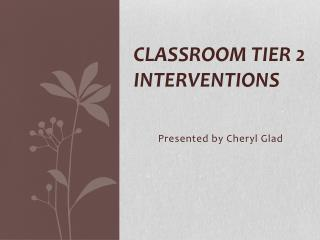 Classroom Tier 2 Interventions