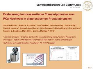Evaluierung tumorassoziierter Transkriptmuster zum PCa-Nachweis in diagnostischen Prostatabiopsien