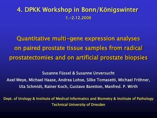 4. DPKK Workshop in Bonn/Königswinter 1.-2.12.2006