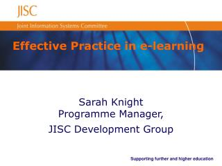 Effective Practice in e-learning